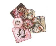 """Mosaik-Fliesen """"floral"""", 4,8 x 4,8 cm und 3 cm Ø, 6 Stück"""