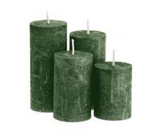 Rustikale Kerzen, tannengrün, abgestuft, 4 Stück