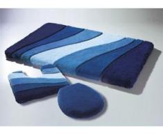 Barfußweiche Badgarnitur aus dem Traditionshaus Meusch, Größe 112 (WC-Deckelbezug mit Kordel), Blau