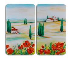 WENKO Herd-Abdeckplatte Toscana, Glas, (Set, 2-tlg.) bunt Zubehör für Herde Kochfelder Haushaltsgeräte Herdabdeckplatten
