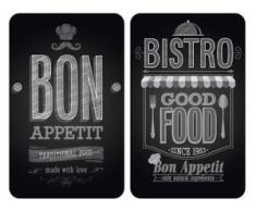WENKO Herd-Abdeckplatte Bon Appetit, Glas, (Set, 2-tlg.) schwarz Zubehör für Herde Kochfelder Haushaltsgeräte Herdabdeckplatten