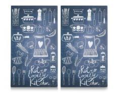 Zeller Present Schneide- und Abdeckplatte Lovely Kitchen, ESG-Sicherheitsglas, (Set, 2-tlg.) schwarz Zubehör für Herde Kochfelder Haushaltsgeräte Herdabdeckplatten