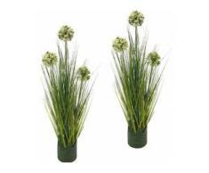 Kunstpflanze Grasbusch Allium 62 cm (Set, 2 Stück) grün Künstliche Zimmerpflanzen Kunstpflanzen Wohnaccessoires