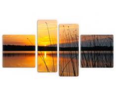 Premium collection by Home affaire Glasbild Sonnenuntergang am See orange Glasbilder Bilder Bilderrahmen Wohnaccessoires