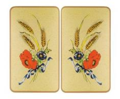 WENKO Herd-Abdeckplatte Kornblumen, Glas, (Set, 2-tlg.) beige Zubehör für Herde Kochfelder Haushaltsgeräte Herdabdeckplatten
