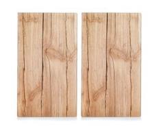 Zeller Present Schneide- und Abdeckplatte Wood, ESG-Sicherheitsglas, (Set, 2-tlg.) beige Zubehör für Herde Kochfelder Haushaltsgeräte Herdabdeckplatten