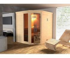 Weka Massivholzsauna Turku 1 Sparkomplettset mit Glastür, Fenster und Saunaofen