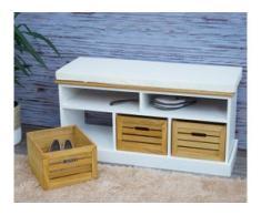Sitzbank mit Staufächern HWC-G50, Polsterbank, Kissen Landhaus Aufbewahrungsboxen Fach 49x95x35cm, weiß-braun