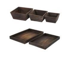 Holzschalen Set, 3x Obstschale Dekoschale T284, 2x Serviertablett T285, Shabby-Look ~ braun