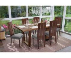 6x Esszimmerstuhl HWC-G63, Küchenstuhl Lehnstuhl Stuhl, Stoff/Textil Massiv-Holz ~ dunkles Gestell, grau