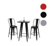 Set Stehtisch + 2x Barhocker HWC-A73, Barstuhl Bartisch, Metall Industriedesign ~ schwarz