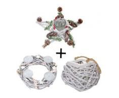 3er Set Adventskranz + Windlicht + Gesteck, Weihnachtsdeko Tischkranz Stern mit Glaseinsatz