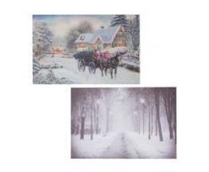 2x LED-Bild, Leinwandbild Leuchtbild Wandbild 60x40cm ~ Snow