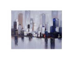 Ölgemälde Skyline New York, 100% handgemaltes Wandbild Gemälde XL, 120x90cm