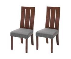 2x Esszimmerstuhl HWC-G63, Küchenstuhl Lehnstuhl Stuhl, Stoff/Textil Massiv-Holz ~ dunkles Gestell, grau