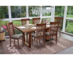 6x Esszimmerstuhl HWC-G62, Küchenstuhl Lehnstuhl Stuhl, Stoff/Textil Massiv-Holz Landhaus ~ dunkles Gestell, grau