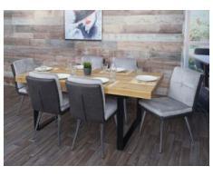 6x Esszimmerstuhl HWC-G48, Küchenstuhl Polsterstuhl Lehnstuhl, Kunstleder Samt ~ grau