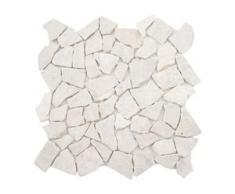 Steinfliesen Vigo T687, Marmor Naturstein-Fliese Mosaik, 11 Stück je 30x30cm = 1qm ~ creme-weiß