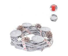 Adventskranz rund, Weihnachtsdeko Tischkranz, Holz Ø 30cm weiß-grau ~ mit Kerzen, weiß