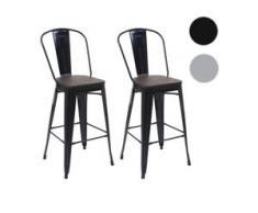 2x Barhocker HWC-A73 inkl. Holz-Sitzfläche, Barstuhl Tresenhocker mit Lehne, Metall Industriedesign ~ grau