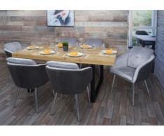 6x Esszimmerstuhl HWC-G48, Küchenstuhl Polsterstuhl Lehnstuhl, Kunstleder Samt mit Armlehne ~ grau