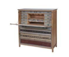 Sekretär HWC-A43, Kommode Schrank, Tanne Holz massiv Vintage Patchwork 113x99x36cm