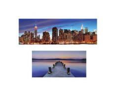 LED-Pinnwand, Pinboard Memoboard Leuchtbild, Timer ~ 120x40cm New York