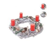 Adventskranz XXL rund, Weihnachtsdeko Tischkranz, Holz Ø 48cm weiß-grau ~ mit Kerzen, rot