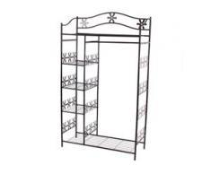 Metall-Garderobe Genf, Garderobenständer Kleiderschrank Metallregal 172x100x43cm ~ ohne Vorhang
