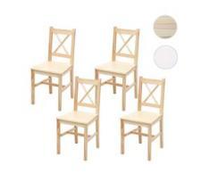 4x Esszimmerstuhl HWC-F77, Lehnstuhl Küchenstuhl Stuhl, Massiv-Holz Landhaus ~ Kiefer lasiert