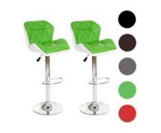 2x Barhocker HWC-A92, Barstuhl Tresenhocker, Kunstleder ~ grün