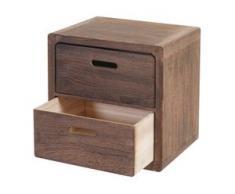 Kommode Trani, Nachtschrank Nachttisch, 2 Schubladen 44x44x35cm Shabby-Look Vintage ~ dunkelbraun