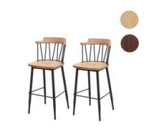 2x Barhocker HWC-G69b, Tresenhocker Barstuhl, Massivholz Retro Design Metall Fußablage Gastronomie ~ vintage braun