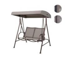Hollywoodschaukel HWC-F89, Gartenschaukel Bank, 2-Sitzer verstellbares Dach Taschen 160cm Metall ~ grau-braun, beige