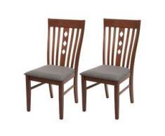 2x Esszimmerstuhl HWC-G62, Küchenstuhl Lehnstuhl Stuhl, Stoff/Textil Massiv-Holz Landhaus ~ dunkles Gestell, grau