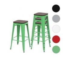 4x Barhocker HWC-A73 inkl. Holz-Sitzfläche, Barstuhl Tresenhocker, Metall Industriedesign stapelbar ~ grün