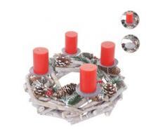 Adventskranz rund, Weihnachtsdeko Tischkranz, Holz Ø 35cm weiß-grau ~ ohne Kerzen