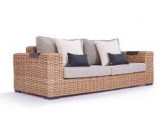 Polyrattan Sofa Molly 235 cm - honig - Polyrattan Garten XXL Sofa in Honig