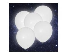 5x LED Luftballons 30cm heliumgeeignet Feier Party Dekoration weiß BWI