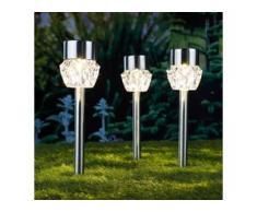 3x Solarlampe LED Gartenlampe warm weiß Gartenleuchte 6,7 x 34,5cm Solarleuchte