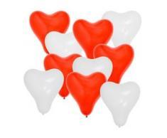 Herz Folienballons Luftballons Folien Heliumballons Ballons Herzen rot/weiß BWI
