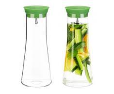 2 x Glaskaraffe zylindrisch, 1 Liter, Gastro, Edelstahl Ausgießer, feines Kristallglas, spülmaschinenfest, Karaffe, klar - RELAXDAYS