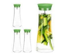 4 x Glaskaraffe zylindrisch, 1 Liter, Gastro, Edelstahl Ausgießer, feines Kristallglas, spülmaschinenfest, Karaffe, klar - RELAXDAYS
