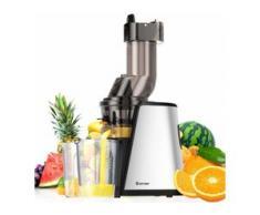 COSTWAY Slow Juicer mit Umkehrfunktion, Entsafter fuer Gemuese und Obst, Fruitpresso 150W inkl. Reinigungsbuerste, Elektrische Saftpresse Silbrig