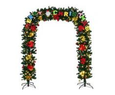 COSTWAY kuenstliche Weihnachtsgirlande mit Gestell Tuergirlande Tannengirlande Weihnachtsdeko Weihnachtsbaum Weihnachtsbaumdeko inkl. 2