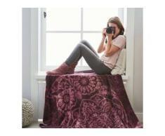 Ibena Jacquard Decke Victoria 2180-500 violett/natur 150x200 cm, lila,pink