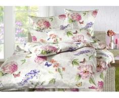Bettwäsche-Garnitur aus 100% mercerisierter Baumwolle, Größe 112 (80x80 cm + 135x200 cm), Qualität Mako-Satin, Weiss