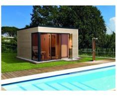 Weka Design-Saunahaus Cubilis mit Glastür und 3 Fenstern