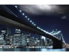 papermoon Vlies- Fototapete Digitaldruck 350 x 260 cm, Brooklin Bridge by night