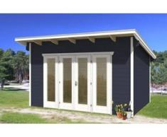 SKAN HOLZ Gartenhaus Ostende Größe 2, 400 x 300 cm, Wandstärke 28 mm, schiefergrau